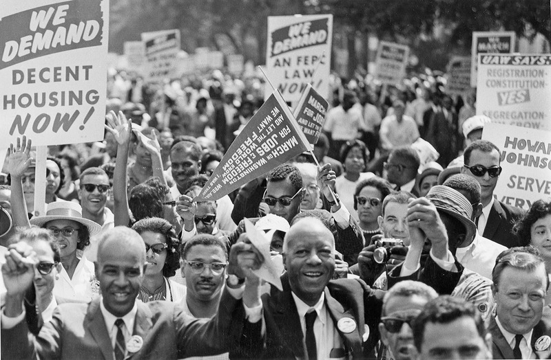 Civil Rights March on Washington, D.C. (Leaders of the march leading marchers down the street.) - NARA - 542003