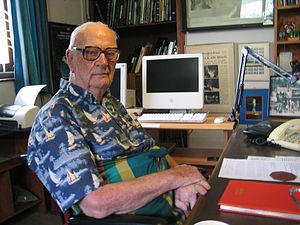 Arthur C Clarke in his home office in Sri Lanka
