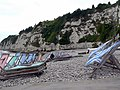 Cliffs and Deckchairs on Beer Beach, August - geograph.org.uk - 218533.jpg