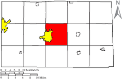 Location of Clinton Township (red) in Seneca County, adjacent to the city of Tiffin (yellow).