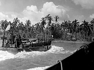 Landing Craft Mechanized - An LCM during the invasion of Leyte