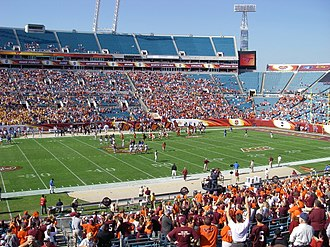 2007 ACC Championship Game - The stands at Jacksonville Municipal Stadium were largely empty as the two captains entered the center for the toss and remained so for the rest of the game.