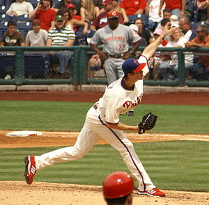 Cole Hamels - Hamels pitching against the Cincinnati Reds in 2008