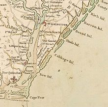 A map of the Cape Fear River showing Wilmington and Brunswick Town in 1770