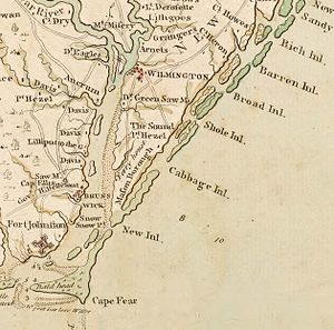 Robert Howe (Continental Army officer) - A portion of John Collet's 1770 map of North Carolina depicting the environs of the lower Cape Fear, including Howe's plantation at top right, located near Barren Inlet