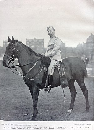 Queen's Westminsters - Sir Charles Howard Vincent, Commanding Officer of the Queen's Westminster Rifle Volunteers, 1884-1904. Pictured in  1896