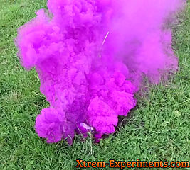 Raspberry colored smoke bomb