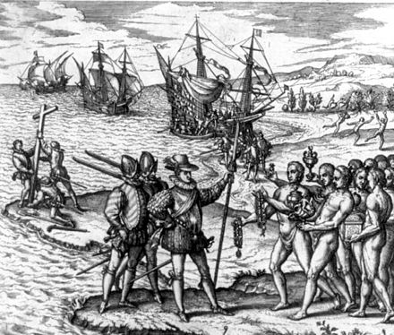 Christopher Columbus landing on the island of Hispaniola in 1492. Columbus landing on Hispaniola adj.jpg