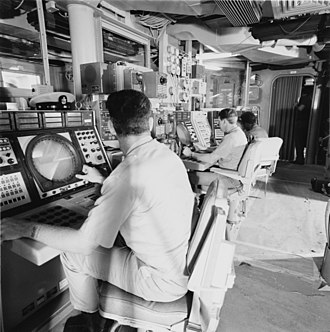 Combat information center - CIC of USS Spruance, 1975.