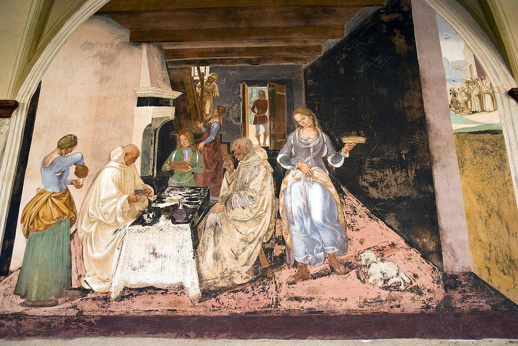 Luca Signorelli, Come Benedetto dice alli monaci dove e quando avevano mangiato fuori del monastero