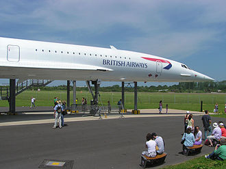Supersonic transport - British Airways Concorde at Filton Aerodrome, Bristol, England shows the slender fuselage necessary for supersonic flight