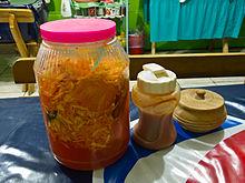 Condimentos para Pupusas em El Salvador 2012.jpg