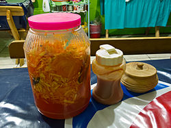 Condiments for Pupusas in El Salvador 2012.jpg