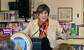 Congresswoman Rosa L. DeLauro speaks during Secretary Vilsack's visit to the Henry A. Wolcott Elementary School in West Hartford, Connecticut.jpg
