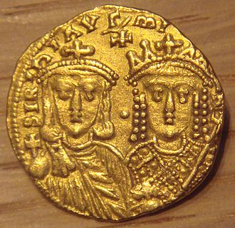 Irene of Athens - Gold solidus showing Irene alongside her son Constantine VI