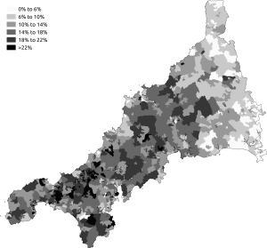 "Demography of Cornwall - The percentage of respondents who gave ""Cornish"" as an answer to the National Identity question in the 2011 census."
