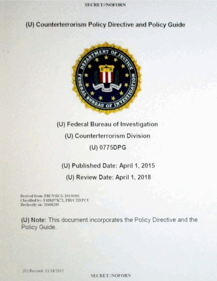 Redacted policy guide for the Counterterrorism Division (part of the FBI National Security Branch) Counterterrorism Policy Directive and Policy Guide (redacted).pdf