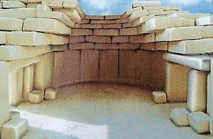 Ħaġar Qim - Reconstruction of the temple roof