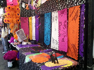 Papel picado - Papel picado for sale at a market in Coyoacán, Mexico City for Day of the Dead.