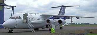 Facility for Airborne Atmospheric Measurements - FAAM aircraft BAe 146 G-LUXE on the Cranfield Airport apron June 2009