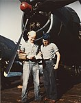 Crewmen on the flight deck of USS Belleau Wood (CVL-24), circa in 1945 (80-G-K-5188).jpg