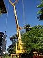 Cristo Salvador de Sertãozinho, em construção. Guindaste com capacidade de 500 toneladas utilizado para o içamento da estátua do Cristo, que foi construido com aço, revestida por uma tela e argamass - panoramio.jpg