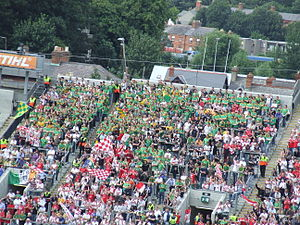 All-Ireland Senior Football Championship - Fans of Sligo (in black) are visible in the crowd among supporters of Cork, Meath and Tyrone. The introduction of the All-Ireland Qualifiers in 2001 has provided weaker counties with opportunities to play big games at Croke Park.