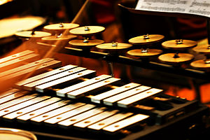 Percussion section - Tuned percussion: A glockenspiel and a set of crotales in use.