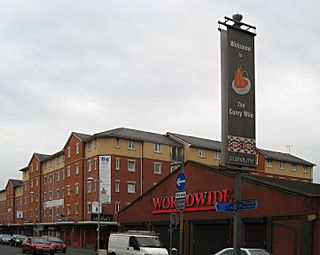 Curry Mile street in Manchester, United Kingdom