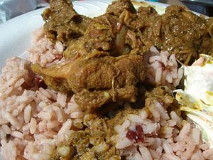 Curry goat - Image: Curry Goat and Rice