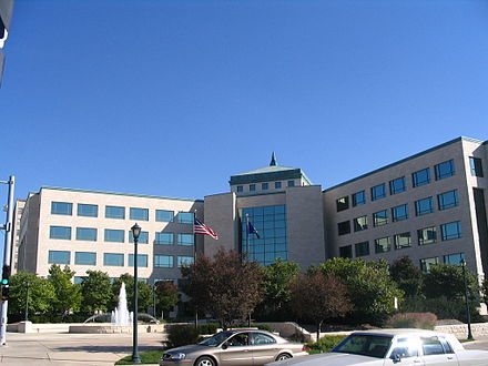 The Charles Curtis State Office Building (2001), facing the capitol