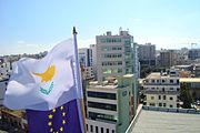 Cyprus European Union Presidency flags at top of Nicosia Building
