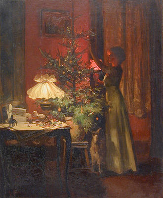 Christmas tree - A young woman decorates the Christmas tree, painting by Marcel Rieder (1862–1942) from 1898