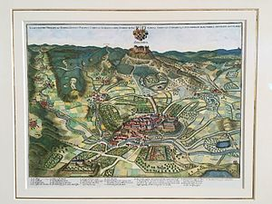 Hechingen - Hechingen and Hohenzollern Castle around 1643 by Matthäus Merian