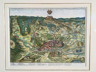 Hechingen - Hechingen and Hohenzollern Castle around 1643 by Matthäus Merian