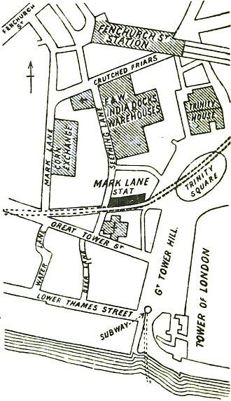 Mark Lane tube station - Location of Mark Lane station on an 1888 plan.