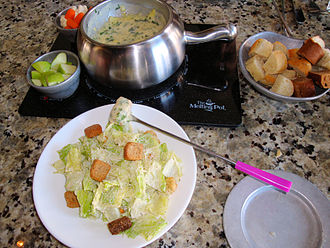 The Melting Pot (restaurant) - Spinach Artichoke Cheese Fondue and Caesar salad