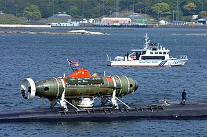 Mystic-class deep-submergence rescue vehicle - The U.S. Navy's Mystic secured to a Los Angeles class attack submarine.