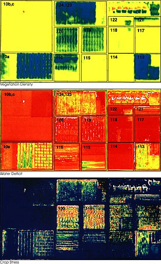 Precision agriculture - False-color images demonstrate remote sensing applications in precision farming. Courtesy NASA Earth Observatory
