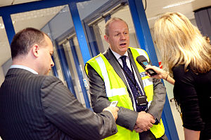 Damian Green - Green speaking to the media on a trip to Manchester