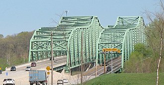U.S. Route 40 - The Daniel Boone Bridge carries US 40 across the Missouri River.