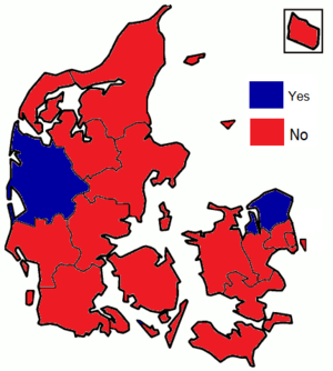 Danish euro referendum, 2000 - Image: Danish euro referendum results by county, 2000