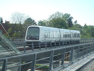 Copenhagen Metro - A Metro train on approach to Flintholm Station