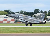 Dassault Aviation Mirage 2000N (code 375) of the French Air Force arrives Fairford 7Jul2016 arp.jpg