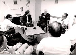 Moshe Dayan Center for Middle Eastern and African Studies - David Ben-Gurion addresses members of the Reuven Shiloah Institute. Date unknown.