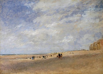 Rhyl Sands (c.1854), by David Cox, a major figure in the Birmingham School of landscape artists David Cox - Rhyl Sands (Tate version).jpg