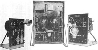 Audion - Some of the earliest Audion AM radio transmitters, built by De Forest around 1916.  The invention of the Audion oscillator in 1912 made inexpensive sound radio transmission possible, and was responsible for the advent of radio broadcasting around 1920.