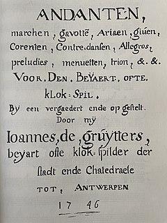 De Gruytters carillon book Manuscript of 18th century carillon music
