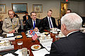 Defense.gov News Photo 110524-D-WQ296-244 - British Defense Minister Liam Fox 3rd from right meets with Secretary of Defense Robert M. Gates right in the Pentagon on May 24 2011. The meeting.jpg