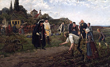 Frederick the Great inspects the potato harvest outside Neustettin (now Szczecinek, Poland), Eastern Pomerania (Source: Wikimedia)
